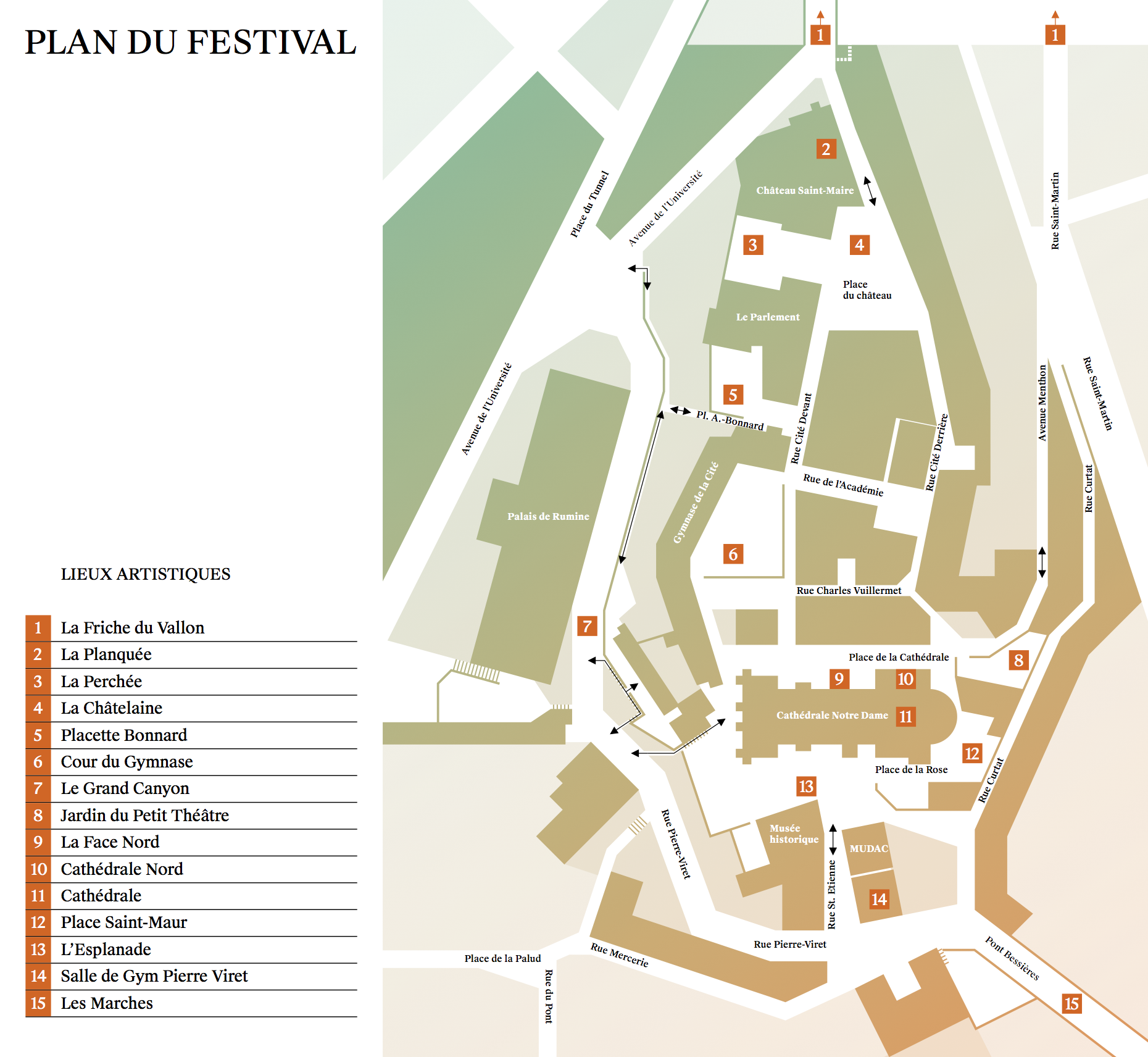 Plan d'implantation du Festival de la Cité 2018